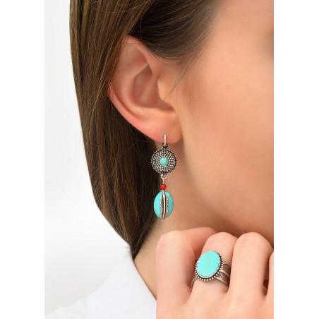 Boucles d'oreilles dormeuses mode métal jaspe et howlite   turquoise84255