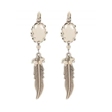 Boucles d'oreilles dormeuses amérindiennes métal   argenté