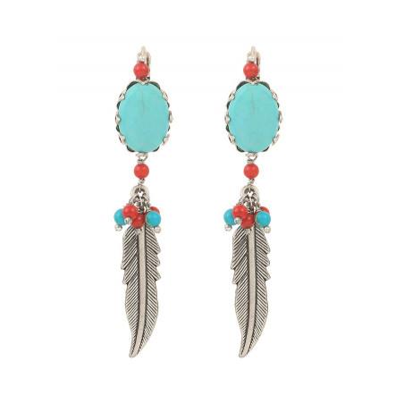 Boucles d'oreilles dormeuses tendance jaspe et howlite | turquoise