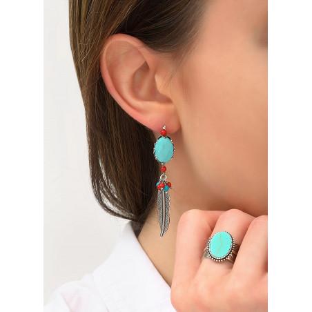 Boucles d'oreilles dormeuses tendance jaspe et howlite | turquoise84270