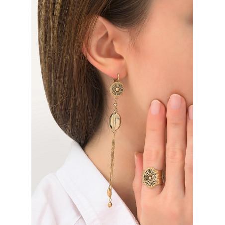 Boucles d'oreilles dormeuses poétiques métal   doré84280