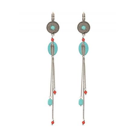 Boucles d'oreilles dormeuses authentiques métal jaspe et howlite | turquoise
