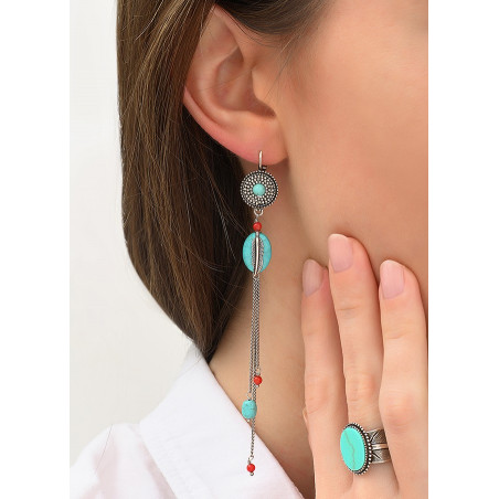 Boucles d'oreilles dormeuses authentiques métal jaspe et howlite | turquoise84285
