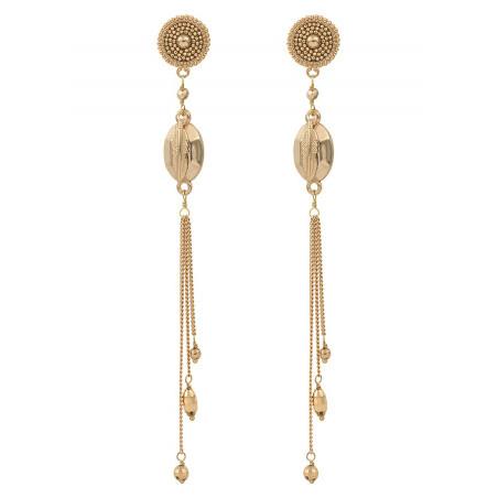 Boucles d'oreilles percées poétiques métal   doré