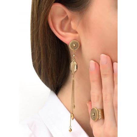 Boucles d'oreilles percées poétiques métal   doré84295