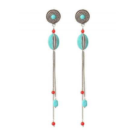 Boucles d'oreilles percées authentiques métal jaspe et howlite   turquoise