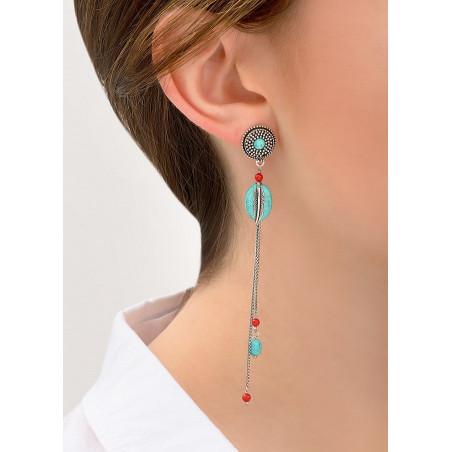 Boucles d'oreilles percées authentiques métal jaspe et howlite   turquoise84300