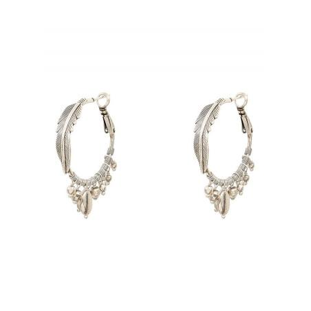 Boucles d'oreilles créoles percées élégantes métal | argenté