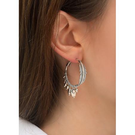 Boucles d'oreilles créoles percées élégantes métal | argenté84305