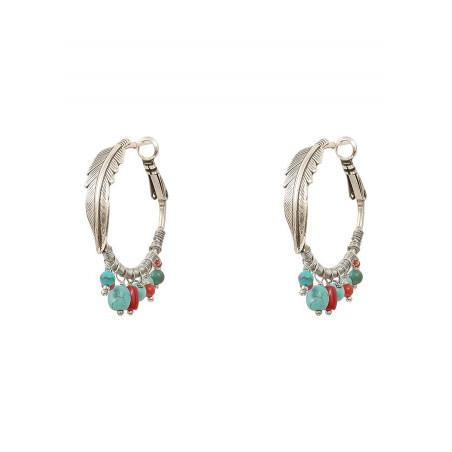 Boucles d'oreilles créoles percées légères métal jaspe et howlite | turquoise