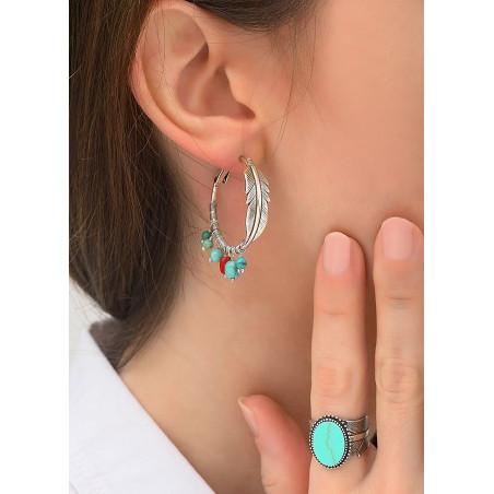 Boucles d'oreilles créoles percées légères métal jaspe et howlite | turquoise84315