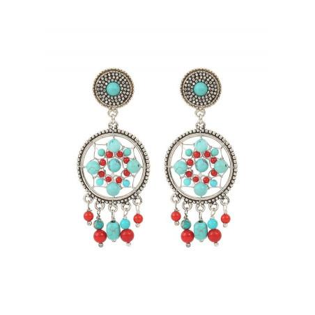Boucles d'oreilles clips bohèmes métal jaspe et howlite   turquoise
