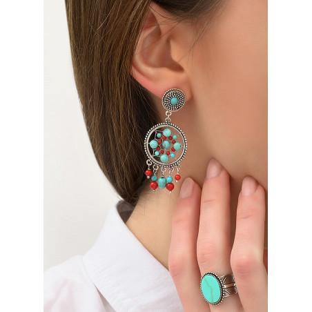 Boucles d'oreilles clips bohèmes métal jaspe et howlite   turquoise84330