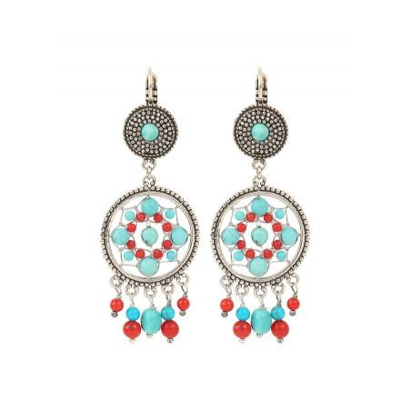 Boucles d'oreilles dormeuses bohèmes métal jaspe et howlite | turquoise