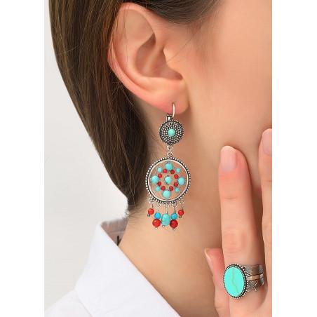 Boucles d'oreilles dormeuses bohèmes métal jaspe et howlite | turquoise84345