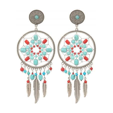 Boucles d'oreilles clips estivales métal jaspe et howlite | argenté