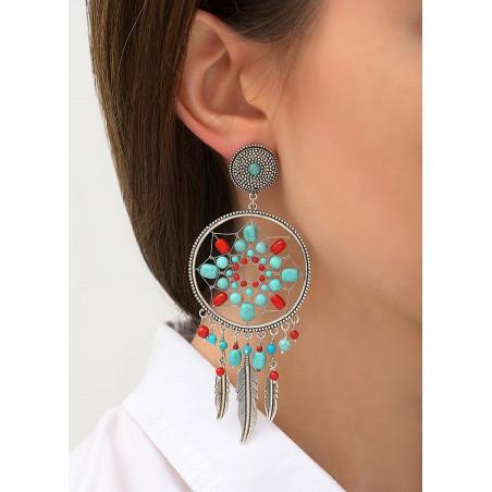Boucles d'oreilles clips estivales métal jaspe et howlite | argenté84375