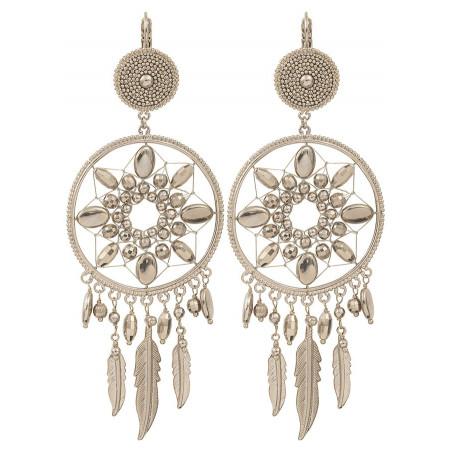Boucles d'oreilles dormeuses ethniques chic métal | argenté