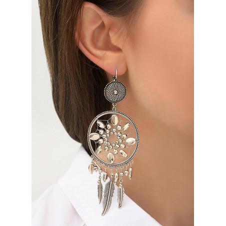Boucles d'oreilles dormeuses ethniques chic métal | argenté84380