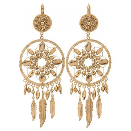 Boucles d'oreilles dormeuses romantiques métal   doré