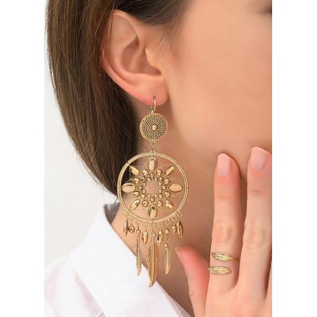 Boucles d'oreilles dormeuses romantiques métal   doré84385
