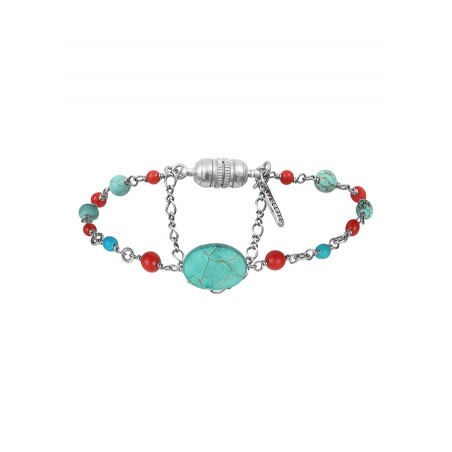 Bracelet souple medium féminin métal jaspe et howlite   argenté