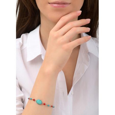 Bracelet souple medium féminin métal jaspe et howlite   argenté84420