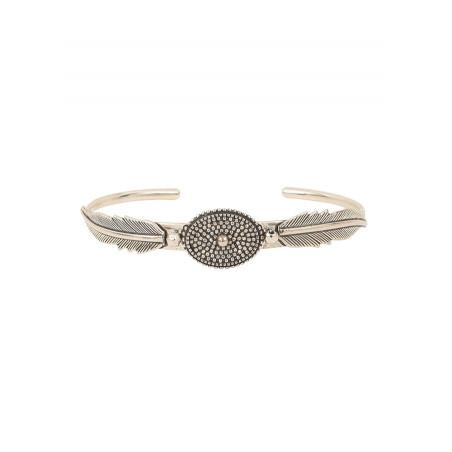 Bracelet jonc plume poétique métal | argenté