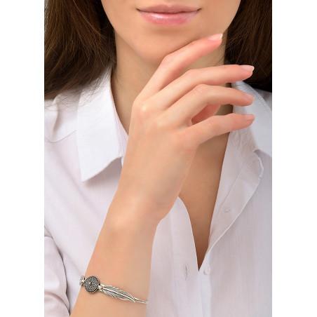 Bracelet jonc plume poétique métal | argenté84440