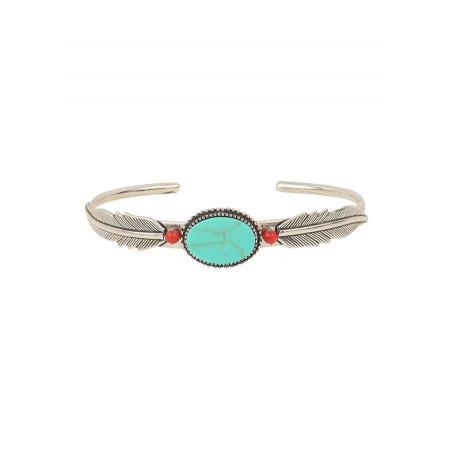 Bracelet jonc plume léger métal et bambou des mers | turquoise