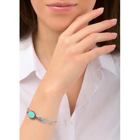 Bracelet jonc plume léger métal et bambou des mers | turquoise84450