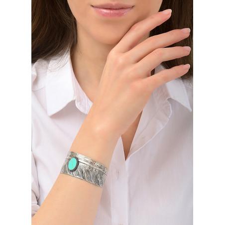 Bracelet manchette ajustable tendance métal | turquoise84495