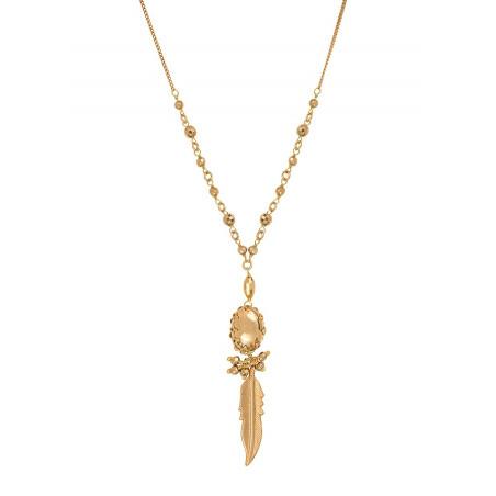Collier pendentif discret métal   doré