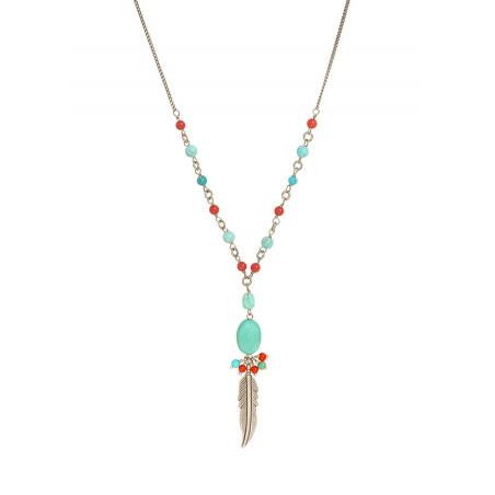 Collier pendentif coloré métal jaspe et howlite | turquoise