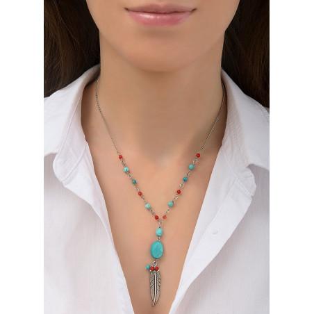 Collier pendentif coloré métal jaspe et howlite | turquoise84510