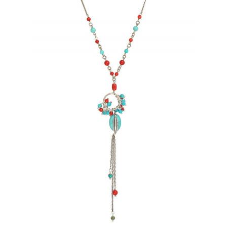 Collier pendentif fantaisie métal jaspe et howlite | turquoise