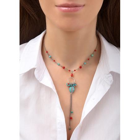 Collier pendentif fantaisie métal jaspe et howlite | turquoise84525