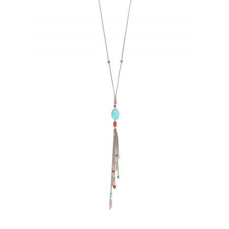 Collier sautoir chic métal jaspe et howlite | turquoise