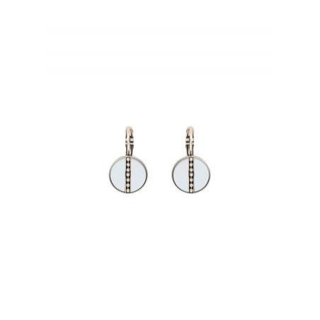 Boucles d'oreilles dormeuses raffinées nacre et métal | blanc