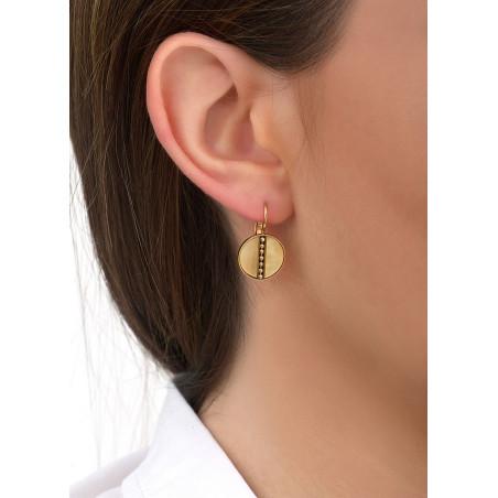 Boucles d'oreilles dormeuses glamour nacre et métal | jaune84602