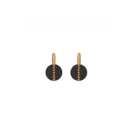 Boucles d'oreilles dormeuses élégantes nacre et métal | noir