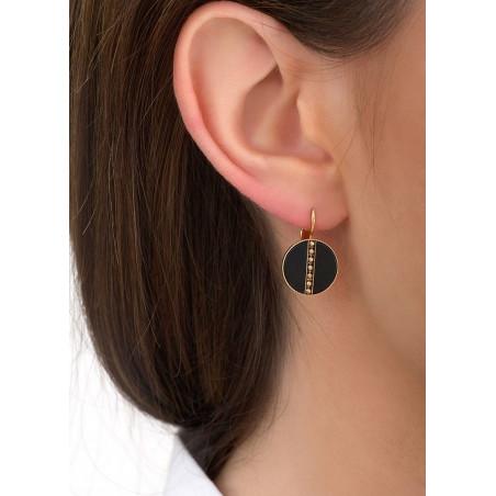 Boucles d'oreilles dormeuses élégantes nacre et métal | noir84607