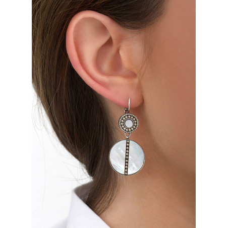 Boucles d'oreilles dormeuses poétiques nacre et métal   blanc84612