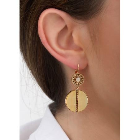 Boucles d'oreilles dormeuses graphiques nacre et métal | jaune84617