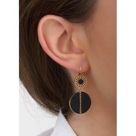 Boucles d'oreilles dormeuses mystérieuses nacre et métal | noir84622