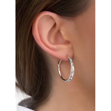 Boucles d'oreilles créoles percées raffinées tissées | argenté84642