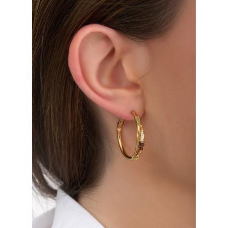 Boucles d'oreilles créoles percées solaires tissées | doré84647