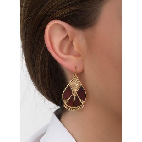 Boucles d'oreilles dormeuses féminines nacre et métal | noir84662