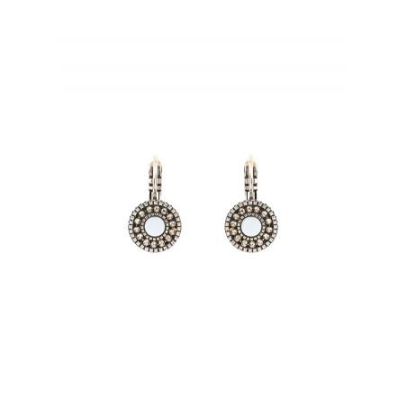 Boucles d'oreilles dormeuses intemporelles métal et nacre | blanc