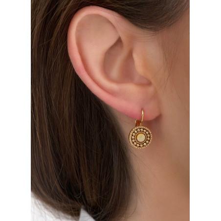 Boucles d'oreilles dormeuses chic métal et nacre   jaune84672
